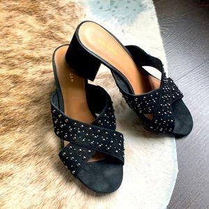 Halogen : Black studded Suede Heels